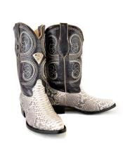 WD-995749 Mens Natural Western Bota Exotic Piel Piton Dress