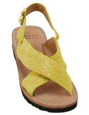 JSM-5280 Mens Citron Yellow Exotic Skin Sandals in ostrich
