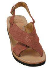 JSM-5270 Mens Exotic Skin Cognac Sandals in ostrich or