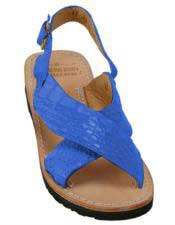 JSM-5271 Mens Electric-Blue Exotic Skin Sandals in ostrich or