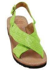 JSM-5272 Mens Exotic Skin Electric-Lime Sandals in ostrich or