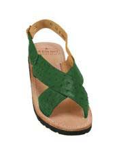 JSM-5327 Mens Exotic Skin Forest Green Sandals in ostrich