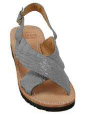 JSM-5274 Mens Exotic Skin Gray Sandals in ostrich or