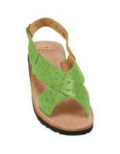 JSM-5329 Mens Exotic Skin Lime-Green Sandals in ostrich or