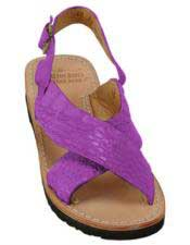 JSM-5275 Mens Exotic Skin Sandals Magenta in ostrich or