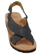 JSM-5276 Mens Matte-Black Exotic Skin Sandals in ostrich or