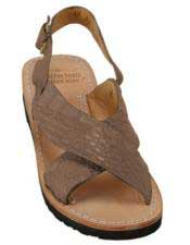 JSM-5277 Mens Exotic Skin Matte-Brown Sandals in ostrich or