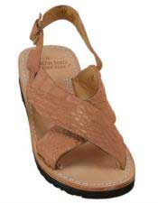 JSM-5278 Mens Exotic Skin Matte-Cognac Sandals in ostrich or