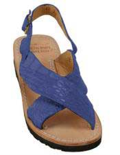 JSM-5279 Mens Exotic Skin Matte-Navy Sandals in ostrich or