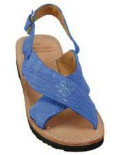 JSM-5281 Mens Exotic Skin Navy Sandals in ostrich or