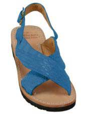 JSM-5282 Mens Exotic Skin Pacific Blue Sandals in ostrich