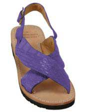 JSM-5283 Mens Exotic Skin Purple Sandals in ostrich or