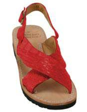 JSM-5284 Mens Exotic Skin Sandals Red in ostrich or