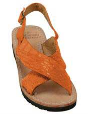 JSM-5286 Mens Exotic Skin Tangerine Sandals in ostrich or