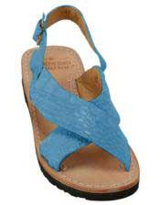 JSM-5287 Mens Exotic Skin Turquoise Sandals in ostrich or