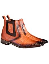 JSM-1755 Mens Vestigium Genuine Caiman Belly Chelsea Faded Cognac