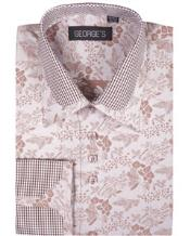 JSM-2762 High Collar Club Style Brown Pattern George Shirts