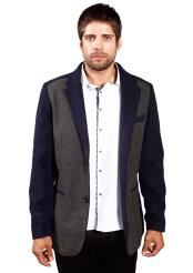 SM4872 Mens Faux Leather Trim Navy Charcoal Regular Fit