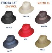 N394-T New 100% Wool Fabric Fedora Trilby Mobster Hat