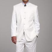 FL665 Ferre White 5 button no collar mandarin Collar