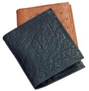 AA372 Ferrini Genuine Smooth Ostrich Wallet BlackCognac
