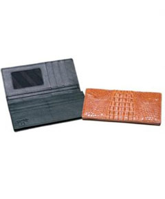 AA385 Ferrini Genuine Hornback Crocodile Checkbook Wallet BlackCognac