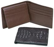 AA381 Ferrini Genuine Hornback Crocodile Card Holder Wallet Blackbrown
