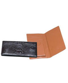 QXX3 Ferrini Genuine Hornback Crocodile Checkbook Wallet in Liquid