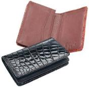 AA378 Ferrini Genuine Crocodile Card Holder Wallet BlackCognac