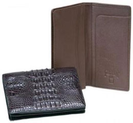 AA382 Ferrini Genuine Hornback Crocodile Card Holder Wallet Blackbrown