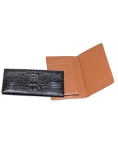 AA383 Ferrini Genuine Hornback Crocodile Checkbook Wallet Blackbrown color
