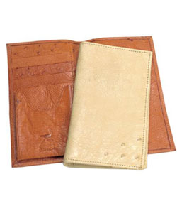 REC66 Ferrini Genuine Smooth Ostrich Checkbook Wallet in Buttercup