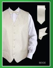 QQW28 4 Piece Vest Set (Bow Tie Neck Tie
