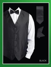 BHU77 4 Piece Vest Set (Bow Tie Neck Tie