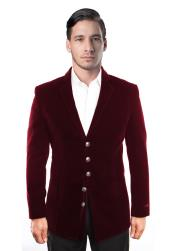 Mens 5 Button Dark Burgundy