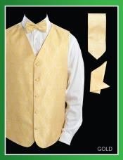 GGL44 4 Piece Vest Set (Bow Tie Neck Tie