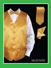 KJL22 4 Piece Vest Set (Bow Tie Neck Tie