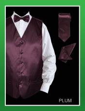 PLU911 4 Piece Vest Set (Bow Tie Neck Tie