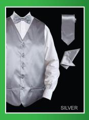 SSL878 4 Piece Vest Set (Bow Tie Neck Tie