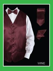 WNE655 4 Piece Vest Set (Bow Tie Neck Tie