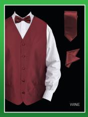 WQE2 4 Piece Vest Set (Bow Tie Neck Tie