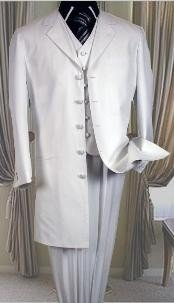 T758TA 5 buttons White 3 Pc suit with vest