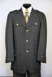 JA88 Mens Button Fastening Flap Pocket Black Zoot Suit
