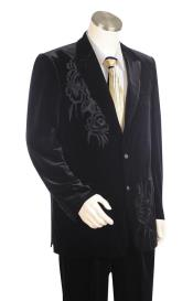 mens Floral Embroidered Velvet Black