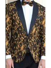 N-115 Mens Floral Designed Black Notch Lapel Black~Camel tuxedo