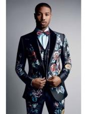 JSM-6853 Mens Floral  Pattern 1 Button Single breasted