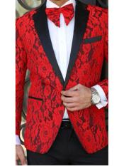 N-115 Mens Floral Designed Black Notch Lapel Red~Black tuxedo