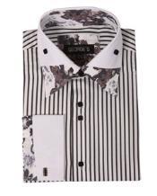 JSM-2770 Mens High Collar Club Black Stripe Floral Shirts