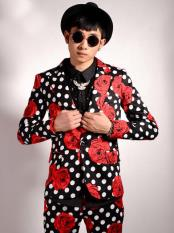 Mens Flower/Polka Dot Pattern Black