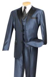 Tuxedo & Formal Blue Three Piece Fashion Suit Liquid